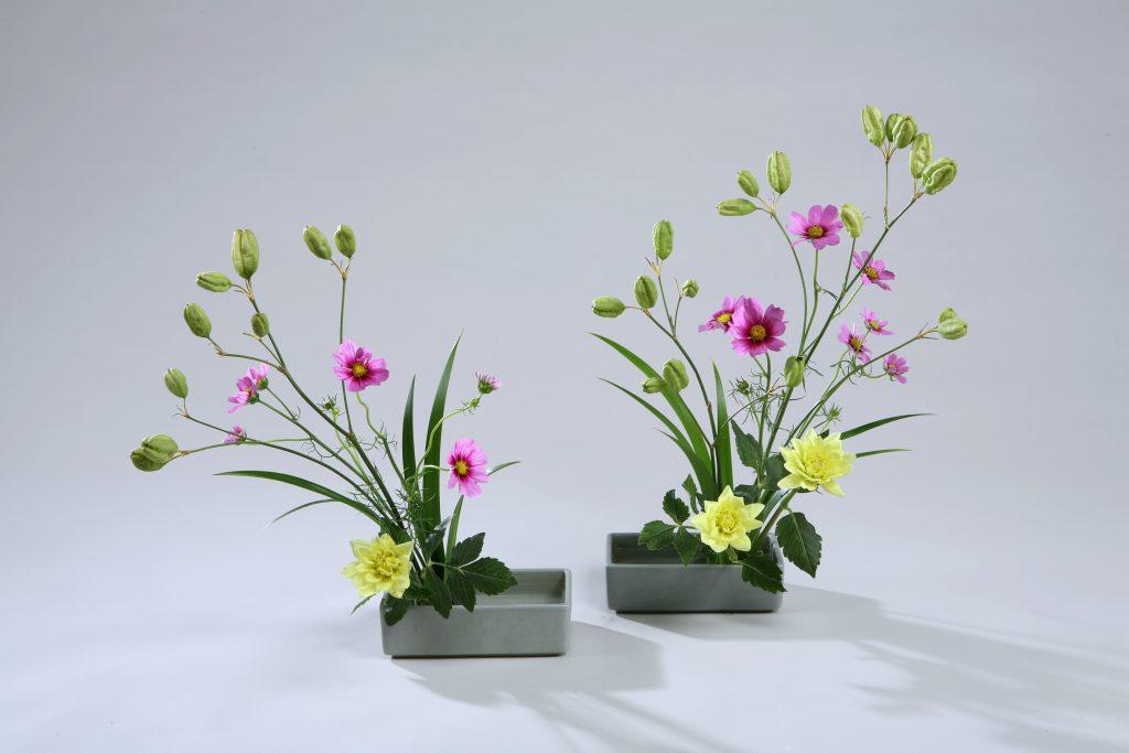 明花は、住空間の中で最小の場所、下駄箱の上や、箪笥の上などを想定して考えられた小品の形式です。明花に器一つの基本型と、二つ以上を使っていけるバージョンⅡがあります。